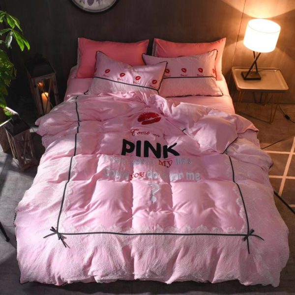 Victorias Secret Pink Embroidery Egyptian Cotton Bedding Set Model 4 1 600x600 - Victoria's Secret Pink Embroidery Egyptian Cotton Bedding Set - Model 4