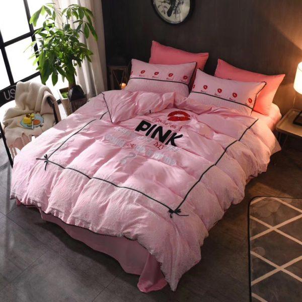 Victorias Secret Pink Embroidery Egyptian Cotton Bedding Set Model 4 4