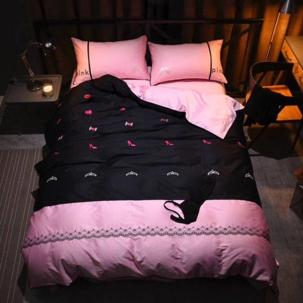 Victorias Secret Pink Embroidery Egyptian Cotton Bedding Set Model 5 1