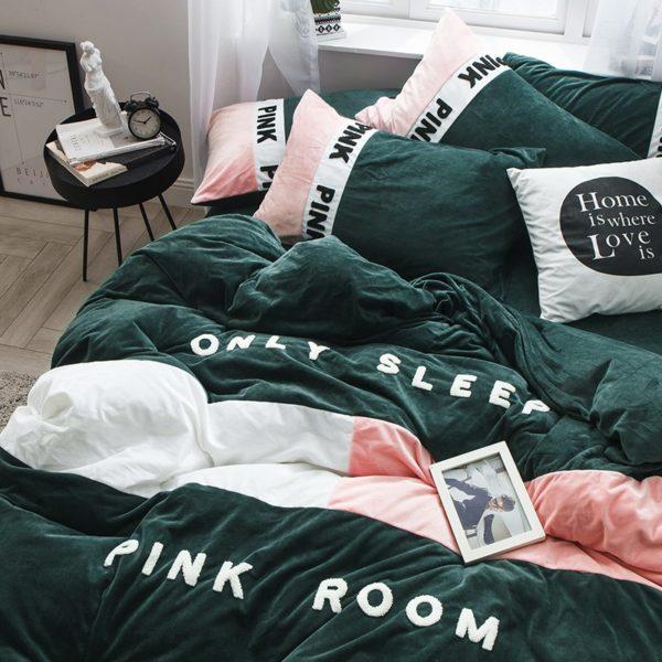 Victorias Secret Pink Embroidery Flannel Bedding Set Model 3 11