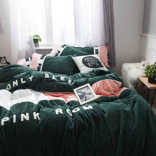 Victorias Secret Pink Embroidery Flannel Bedding Set Model 3 8