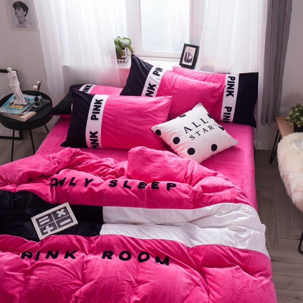 Victorias Secret Pink Embroidery Flannel Bedding Set Model 4 10 600x600 - Victoria's Secret Pink Embroidery Flannel Bedding Set - Model 4