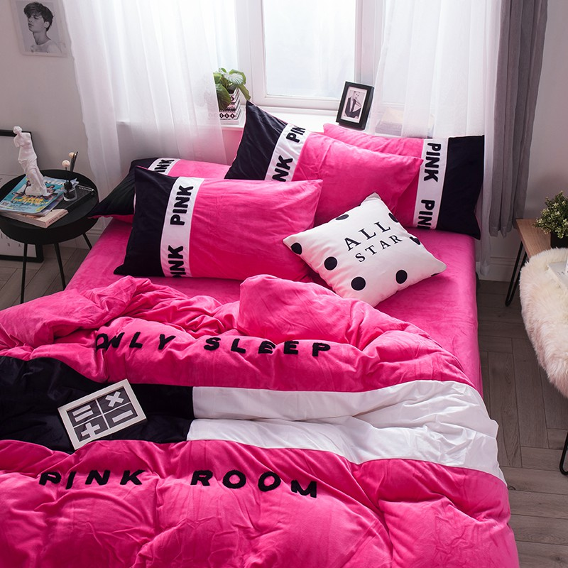 Victoria S Secret Pink Embroidery Flannel Bedding Set