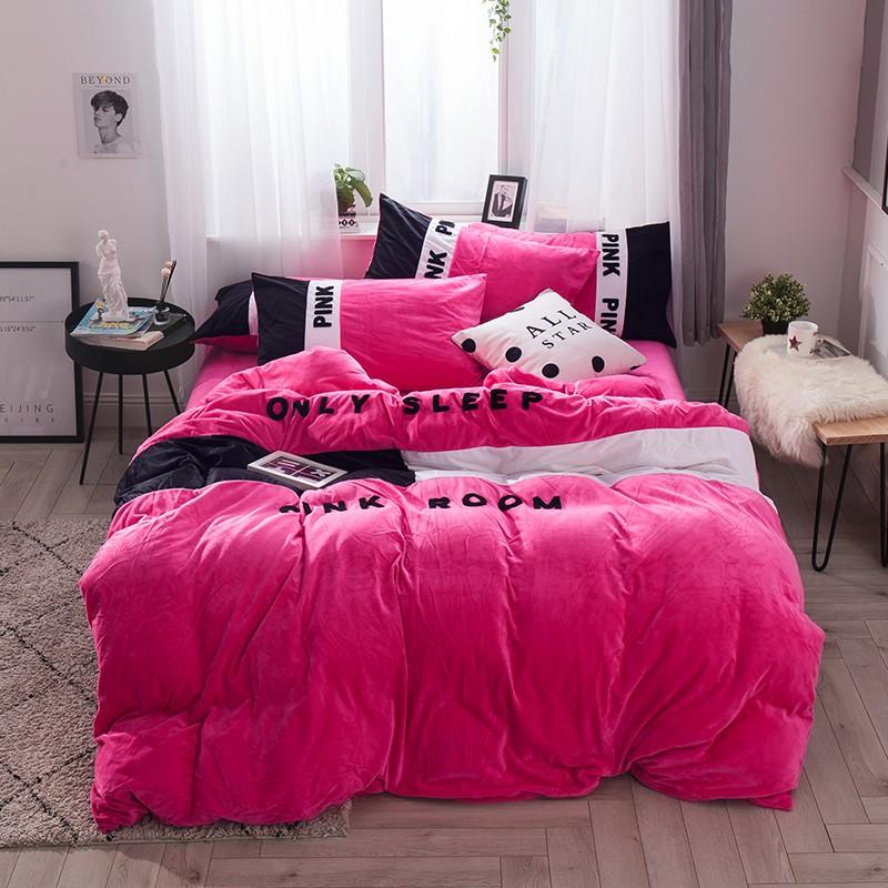 Victoria S Secret Pink Embroidery Flannel Bedding Set