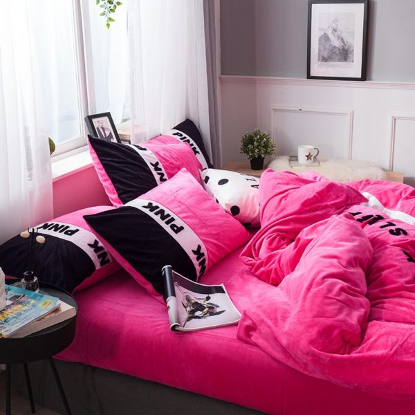 Victorias Secret Pink Embroidery Flannel Bedding Set Model 4 18 600x600 - Victoria's Secret Pink Embroidery Flannel Bedding Set - Model 4