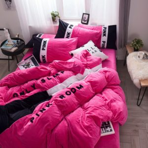 Victoria's Secret Pink Embroidery Flannel Bedding Set - Model 4