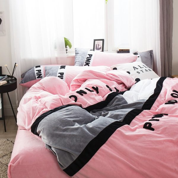 Victorias Secret Pink Embroidery Flannel Bedding Set Model 6 20