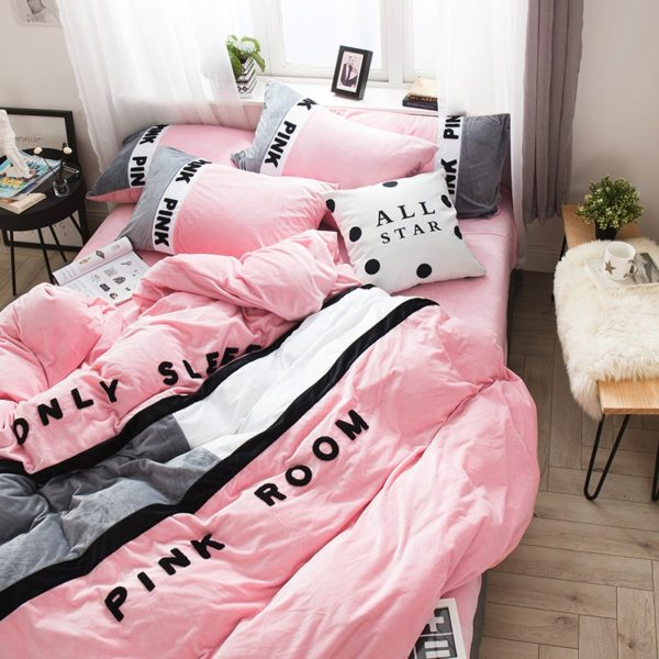 Victorias Secret Pink Embroidery Flannel Bedding Set Model 6 5