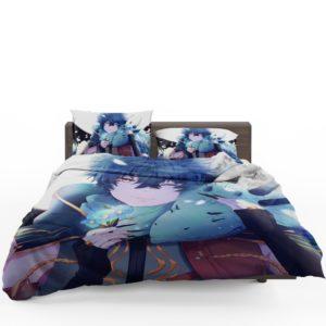 Anime Boy Dragon Blue Flowers Bedding Set 1