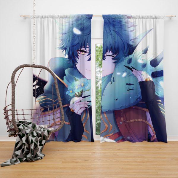 Anime Boy Dragon Blue Flowers Bedroom Window Curtain