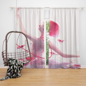 Anime Girl Ballet Dancer Fishes Pink Koi Bedroom Window Curtain