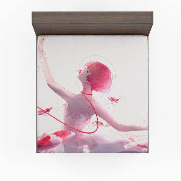 Anime Girl Ballet Dancer Fishes Pink Koi Fitted Sheet