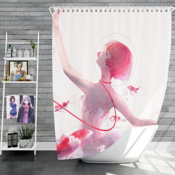 Anime Girl Ballet Dancer Fishes Pink Koi Shower Curtain