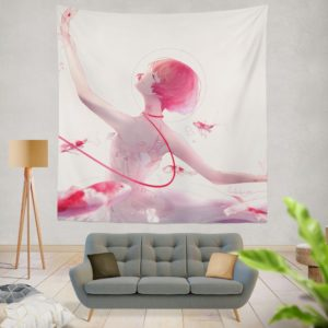 Anime Girl Ballet Dancer Fishes Pink Koi Wall Hanging Tapestry