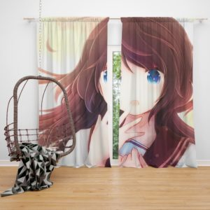 Anime Girl Blue Eyes Bedroom Window Curtain