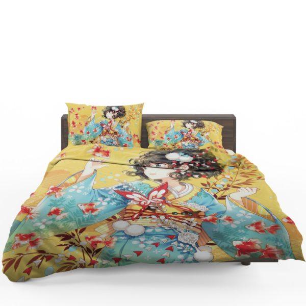 Anime Girl Fishes Japanese Bedding Set 1