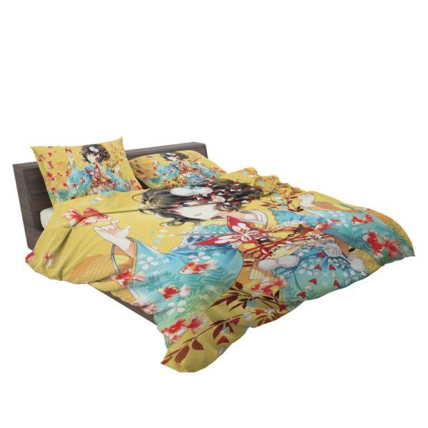 Anime Girl Fishes Japanese Bedding Set 3