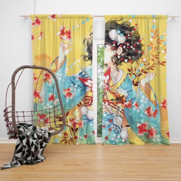 Anime Girl Fishes Japanese Bedroom Window Curtain