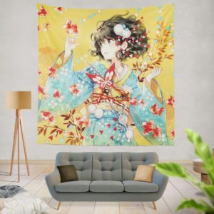 Anime Girl Fishes Japanese Wall Hanging Tapestry