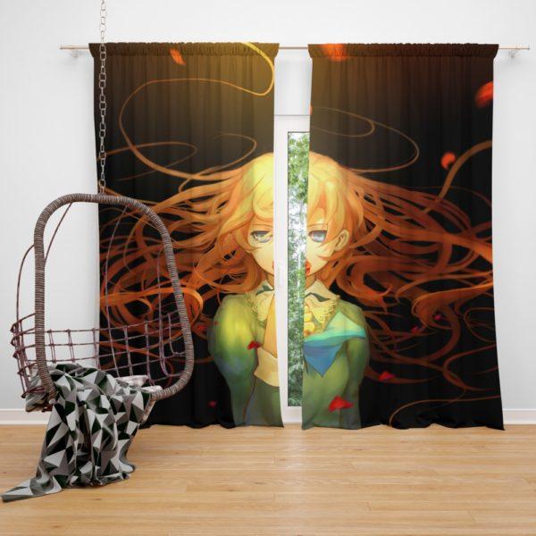 Anime Girl Rose Bedroom Window Curtain