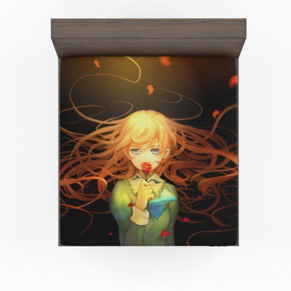 Anime Girl Rose Fitted Sheet