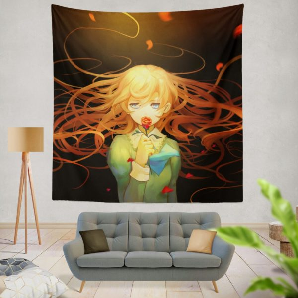 Anime Girl Rose Wall Hanging Tapestry