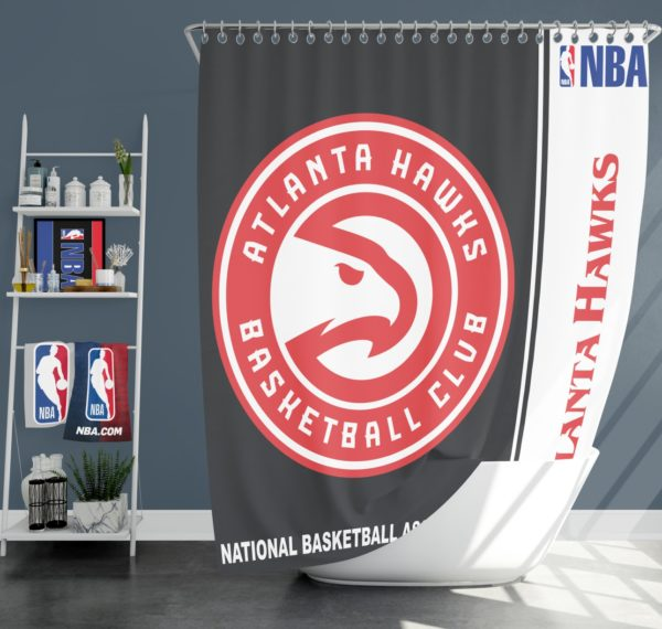 Atlanta Hawks NBA Basketball Bathroom Shower Curtain