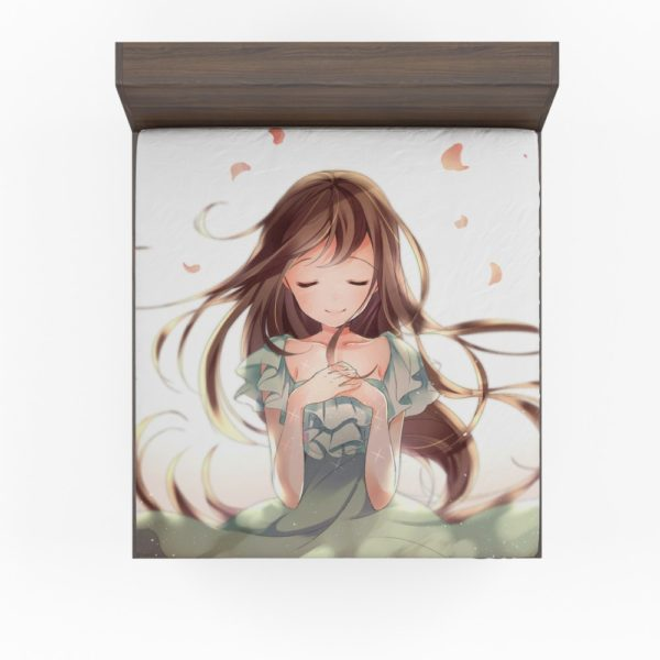 Beautiful Japanese Anime Girl Queen King Fitted Sheet
