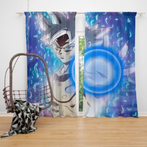 Blue Ultra Instinct Goku Teen Bedroom Window Curtain