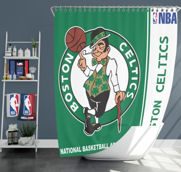 Boston Celtics NBA Basketball Bathroom Shower Curtain