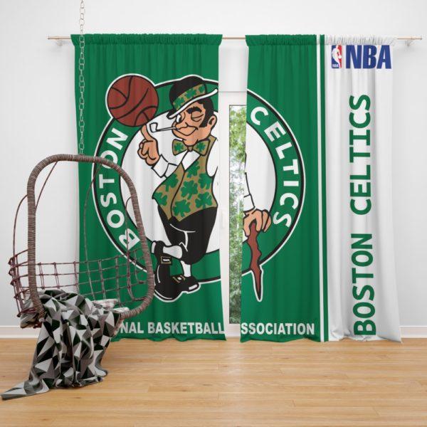 Boston Celtics NBA Basketball Bedroom Window Curtain