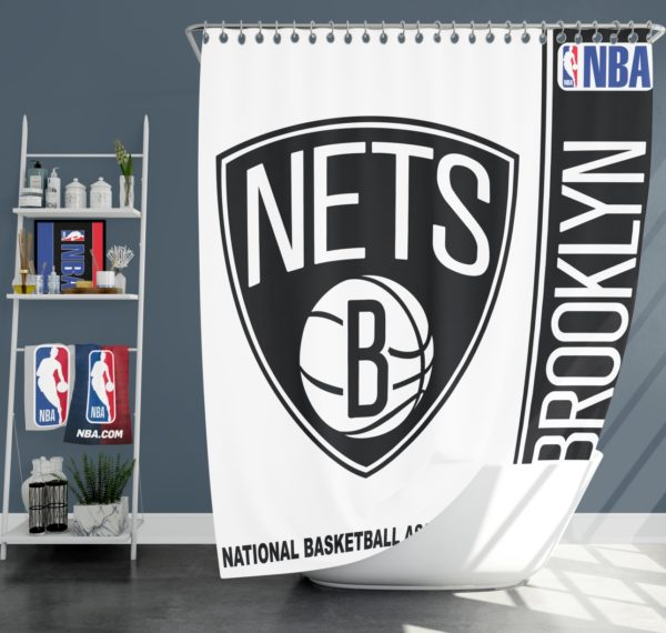 Brooklyn Nets NBA Basketball Bathroom Shower Curtain
