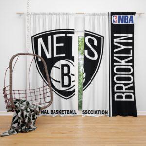 Brooklyn Nets NBA Basketball Bedroom Window Curtain