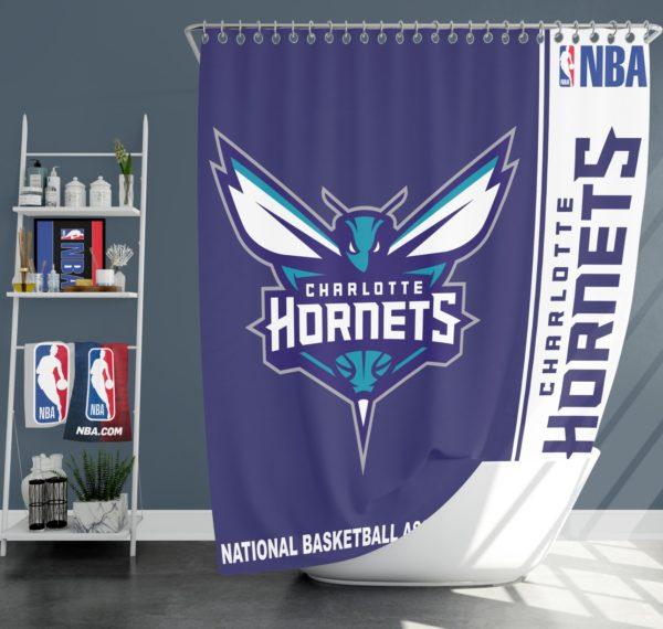 Charlotte Hornets NBA Basketball Bathroom Shower Curtain