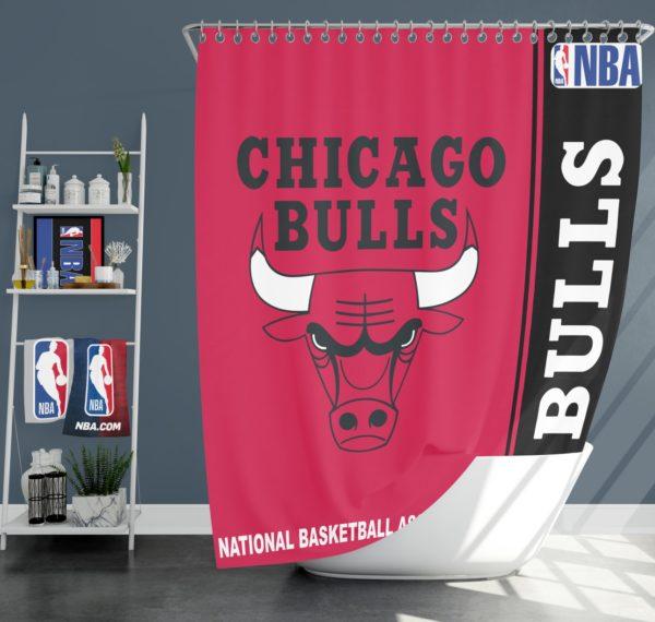 Chicago Bulls NBA Basketball Bathroom Shower Curtain