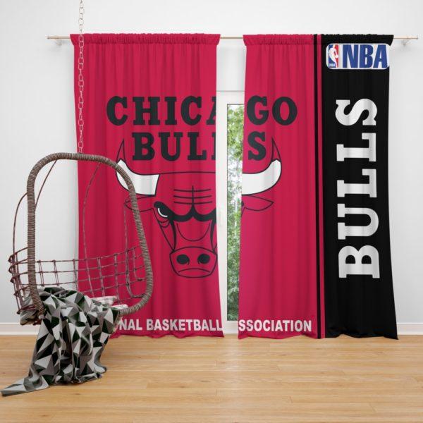 Chicago Bulls NBA Basketball Bedroom Window Curtain