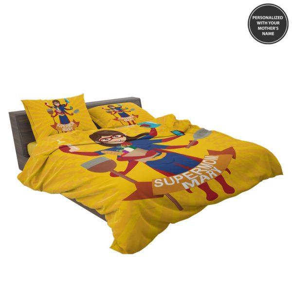 Custom Print Super Mom Personalized Bedding Set 3