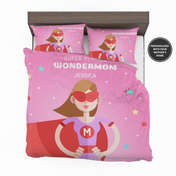Custom Super Heroine Wonder Mom Personalized Bedding Set 2