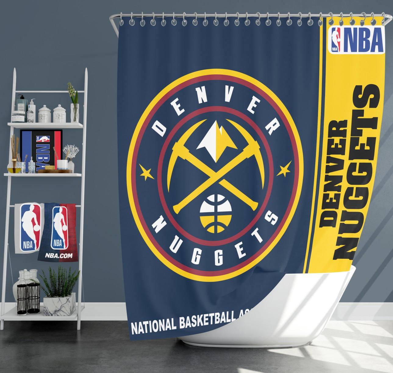 Denver Nuggets Basketball Colors: Denver Nuggets NBA Basketball Bathroom Shower Curtain