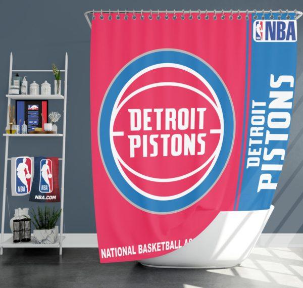 Detroit Pistons NBA Basketball Bathroom Shower Curtain