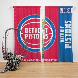 Detroit Pistons NBA Basketball Bedroom Window Curtain