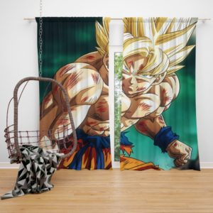 Goku Super Saiyan Dragon Ball Anime Bedroom Window Curtain