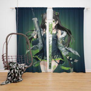 Green Girls Frontline Anime Bedroom Window Curtain
