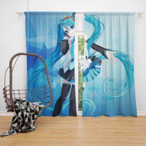 Hatsune Miku Anime Girl Polygons Blue Bedroom Window Curtain
