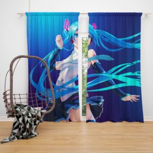 Hatsune Miku Anime Girl Vocaloid Long Hair Bedroom Window Curtain