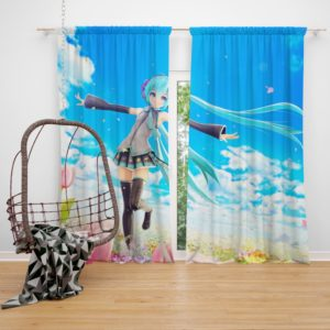 Hatsune Miku Flowers Tulips Anime Bedroom Window Curtain