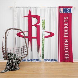 Houston Rockets NBA Basketball Bedroom Window Curtain