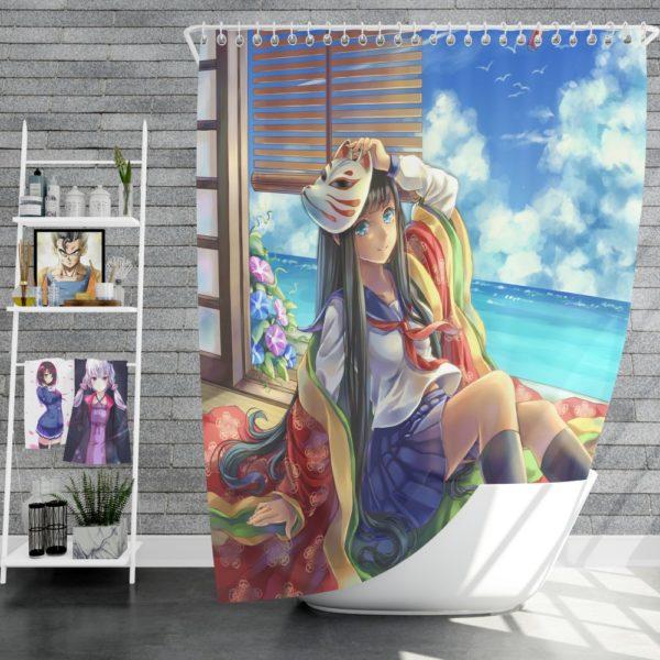 Japanese Anime School Girl Shower Curtain