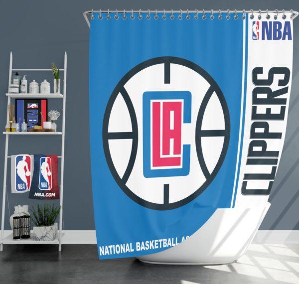 LA Clippers NBA Basketball Bathroom Shower Curtain