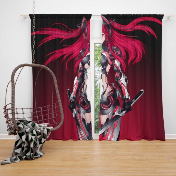 Mecha Girl Red Warrior Katana Bedroom Window Curtain
